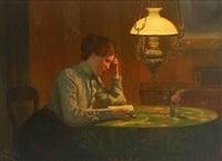 lesende junge frau an einem tisch beim licht der petroleumlampe by karl müller