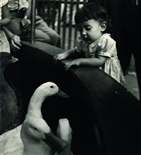 girl meets geese in the children's zoo (+ in the waiting room; 2 works) by esther bubley