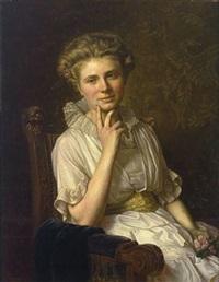 halbfigürliches portrait einer blonden reizenden dame im armlehnstuhl by felix hasse