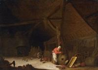 interieur einer großen holländischen scheune by bartholomeus molenaer