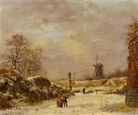 wintertag in den gräben einer alten stadtbefestigung by albert eduard moerman