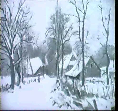 dorfstrasse in fischerhude im schnee by hans buch