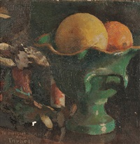 still life with compote of fruit and an oriental figurine by edmund charles tarbell