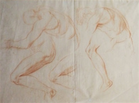 male nude studies for adam and eve by george frederick watts