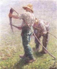 maaiers op het veld by hubert van den bossche