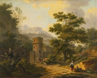 mountainous landscape with a village by frans swagers