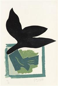 oiseau noir sur fond vert (from si je mourais là-bas) by georges braque