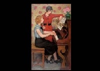 piano and woman by noborou hasegawa