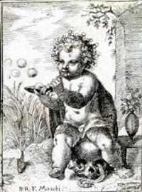 das auf einem totenkopf sitzende kind, mit seifenblasen beschäftigt by bartholomäus reiter