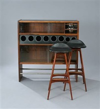 bar and pair of barstools by poul heltborg and erik buck