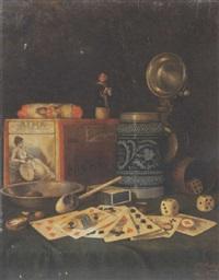 stilleben mit spielkarten und würfeln by eduard haaga