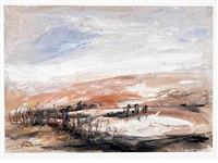 untitled (landscape) by fateh moudarres