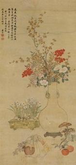 岁朝图 (seasonal offerings) by dong gao