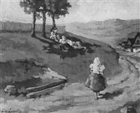 sommerlandschaft mit einer im schatten der bäume lagernden gesellschaft by julius freymuth