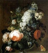 fleurs dans un vase, sur un entablement en pierre by abraham mignon
