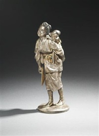 figure of mother and child by mitsunga toyokawa ii
