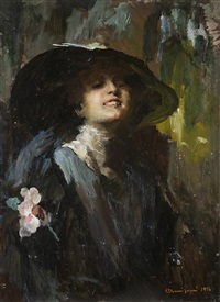 donna col cappello by giuseppe amisani