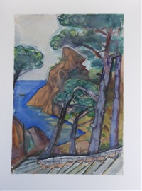 coastal cliffs, possibly la ciotat, france by otto dix