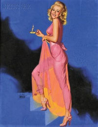 blonde pin-up in pink by candlelight by earl steffa moran
