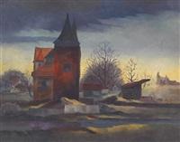 altes stadttor mit ruinen (abend) by christian arnold