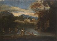 paesaggio fluviale con episodio del ritrovamento di mosè by italian school-roman (17)