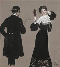 verblümt. ehefrau weist ihren mann ganz nebenbei darauf hin, daß die gattin eines anderen schönere und teurere hüte trägt (illus. for meggendorfer blätter) by carl hermann münch