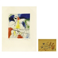 a lady in colors and a drawing (2 works) by masuo ikeda