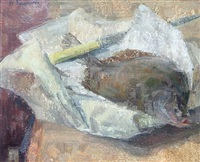 still life with plaice by maurice de sausmarez
