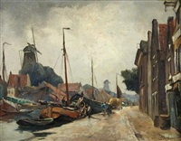 dutch canal scene (+ view of a cottage garden; 2 works) by christian pieter snyder