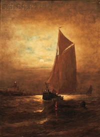 moonlit sail by elbridge wesley webber
