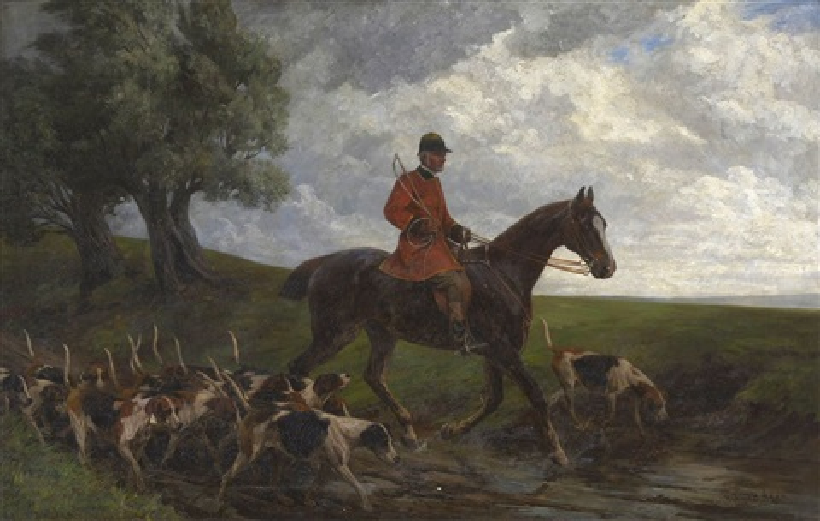parforcereiter mit hunden by richard benno adam