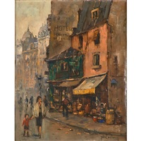 parisian street scenes (2 works) by jan korthals
