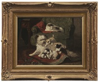 dog with puppies with onlooking cat by henriette ronner-knip