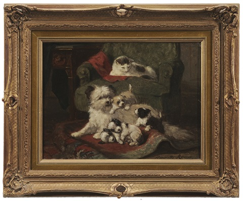 dog with puppies with onlooking cat by henriette ronner knip