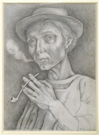 an old man with his pipe by richard eurich