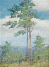 spring landscape with tree by caroline carrie lillian hill