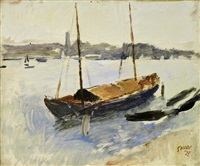 marina con veliero by virgilio guidi