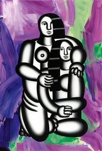 les deux figures (nues sur fond abstrait turbulent) by anselm reyle