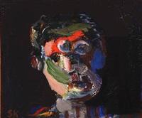 portrait on black background by síren kjaersgaard