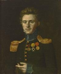 portrait eines jungen mannes in ordensegeschmückter uniform by wendelin moosbrugger