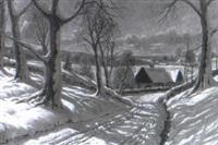 g+rd i soligt vinterlandskap by finn wennerwald