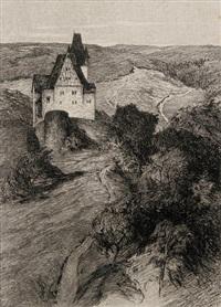 einsamkeit - blick auf burg spangenberg (+ gräber - landschaft mit gräberfeld und turmruine, lrgr; 2 works) by otto ubbelohde