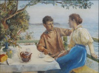 a fisherman and his companion taking tea on a terrace by m. winefride freeman