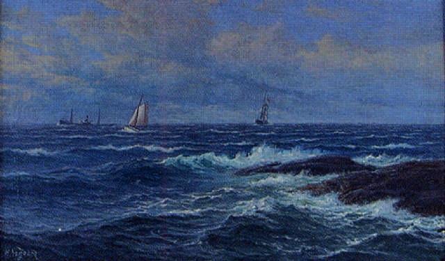 marin med fartyg utanför kusten by zackarais martin aagaard