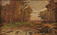 forest landscape and river landscape (a pair) by charles appel