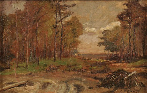 forest landscape and river landscape a pair by charles appel