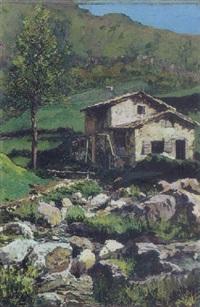 italiensk bjergparti med vandmolle ved en flod by giovanni pessina