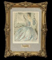 girl in crinoline by louis icart