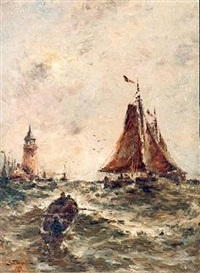 sailboats in a stiff breeze by george bunn