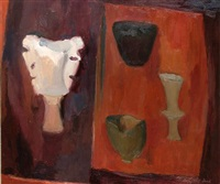 heraldic, still life with pots by margaret firth